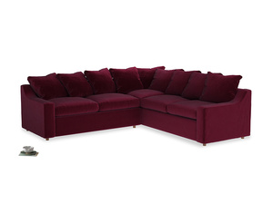Even Sided Cloud Corner Sofa in Merlot Plush Velvet