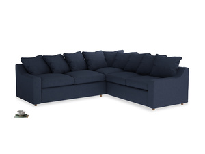 Even Sided Cloud Corner Sofa in Night Owl Blue Clever Woolly Fabric