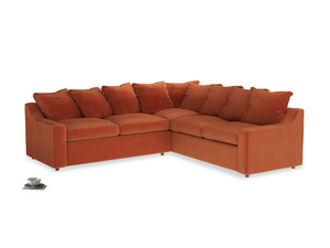 Even Sided Cloud Corner Sofa in Old Orange Clever Deep Velvet