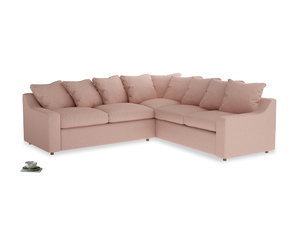 Even Sided Cloud Corner Sofa in Pale Pink Clever Woolly Fabric