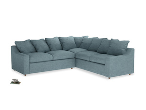 Even Sided Cloud Corner Sofa in Soft Blue Clever Laundered Linen