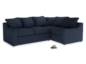 Large Right Hand Cloud Corner Sofa in Night Owl Blue Clever Woolly Fabric