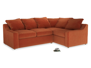 Large Right Hand Cloud Corner Sofa in Old Orange Clever Deep Velvet