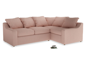 Large Right Hand Cloud Corner Sofa in Pale Pink Clever Woolly Fabric