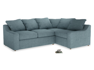 Large Right Hand Cloud Corner Sofa in Soft Blue Clever Laundered Linen