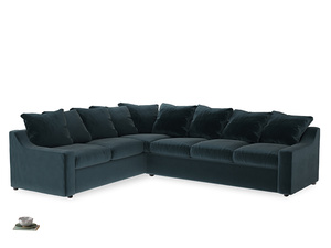 Xl Left Hand Cloud Corner Sofa in Bluey Grey Clever Deep Velvet