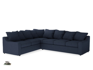 Xl Left Hand Cloud Corner Sofa in Night Owl Blue Clever Woolly Fabric