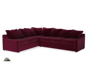 Xl Left Hand Cloud Corner Sofa in Merlot Plush Velvet