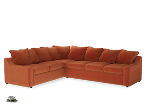 Xl Left Hand Cloud Corner Sofa in Old Orange Clever Deep Velvet
