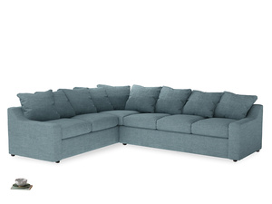Xl Left Hand Cloud Corner Sofa in Soft Blue Clever Laundered Linen
