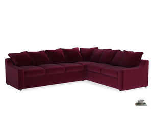 Xl Right Hand Cloud Corner Sofa in Merlot Plush Velvet
