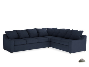 Xl Right Hand Cloud Corner Sofa in Night Owl Blue Clever Woolly Fabric