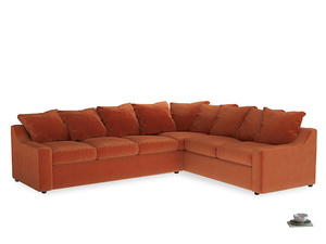 Xl Right Hand Cloud Corner Sofa in Old Orange Clever Deep Velvet