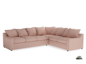 Xl Right Hand Cloud Corner Sofa in Pale Pink Clever Woolly Fabric