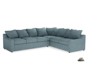 Xl Right Hand Cloud Corner Sofa in Soft Blue Clever Laundered Linen