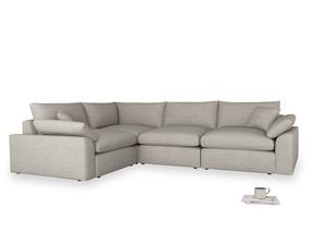 Large left hand Cuddlemuffin Modular Corner Sofa in Grey Daybreak Clever Laundered Linen