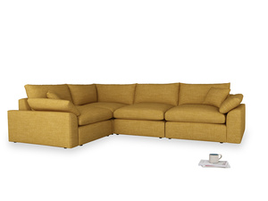 Large left hand Cuddlemuffin Modular Corner Sofa in Mellow Yellow Clever Laundered Linen