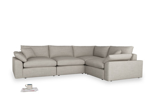 Large right hand Cuddlemuffin Modular Corner Sofa in Grey Daybreak Clever Laundered Linen