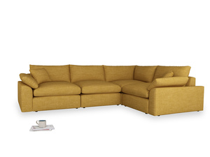 Large right hand Cuddlemuffin Modular Corner Sofa in Mellow Yellow Clever Laundered Linen
