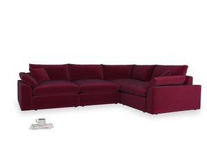 Large right hand Cuddlemuffin Modular Corner Sofa in Merlot Plush Velvet