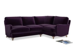 Large Right Hand Jonesy Corner Sofa in Deep Purple Clever Deep Velvet