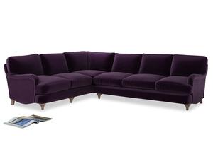 Xl Left Hand Jonesy Corner Sofa in Deep Purple Clever Deep Velvet