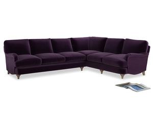 Xl Right Hand Jonesy Corner Sofa in Deep Purple Clever Deep Velvet