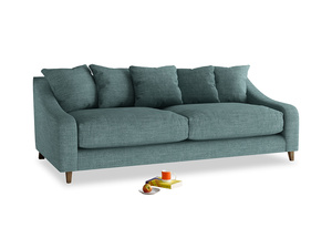 Large Oscar Sofa in Blue Turtle Clever Laundered Linen