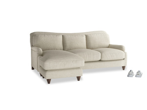 Large left hand Pavlova Chaise Sofa in Shell Clever Laundered Linen