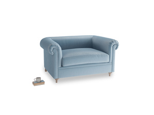 Humblebum Love Seat in Chalky blue vintage velvet
