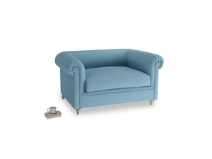 Humblebum Love Seat in Moroccan blue clever woolly fabric