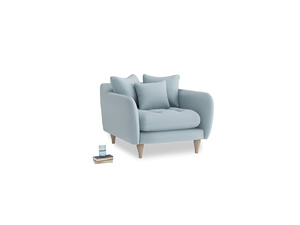 Skinny Minny Armchair in Soothing blue washed cotton linen