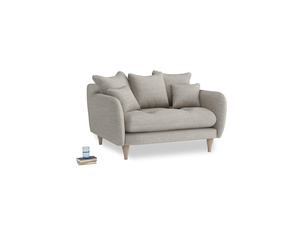 Skinny Minny Love Seat in Grey Daybreak Clever Laundered Linen
