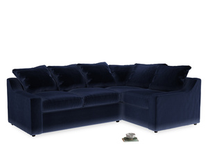 Large Right Hand Cloud Corner Sofa in Goodnight blue Clever Deep Velvet