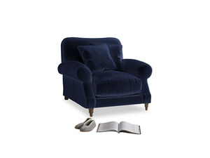 Crumpet Armchair in Goodnight blue Clever Deep Velvet