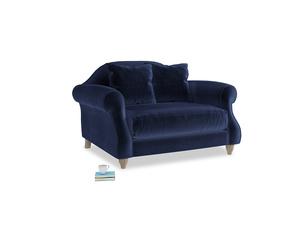 Sloucher Love seat in Goodnight blue Clever Deep Velvet