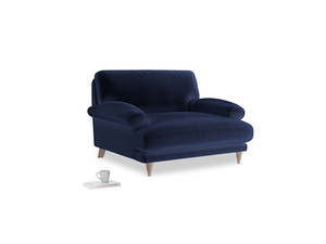 Slowcoach Love seat in Goodnight blue Clever Deep Velvet