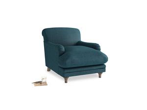 Pudding Armchair in Harbour Blue Vintage Linen