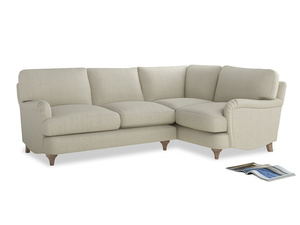 Large Right Hand Jonesy Corner Sofa in Stone Vintage Linen