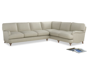 Xl Right Hand Jonesy Corner Sofa in Stone Vintage Linen