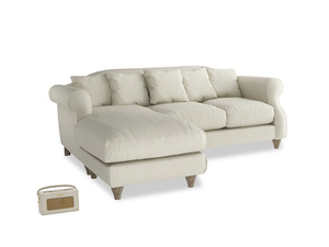 Large left hand Sloucher Chaise Sofa in Stone Vintage Linen