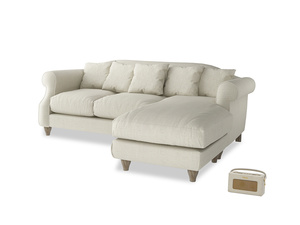 Large right hand Sloucher Chaise Sofa in Stone Vintage Linen