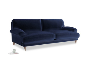 Large Slowcoach Sofa in Goodnight blue Clever Deep Velvet