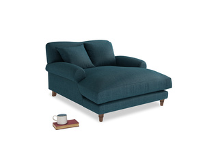 Crumpet Love Seat Chaise in Harbour Blue Vintage Linen