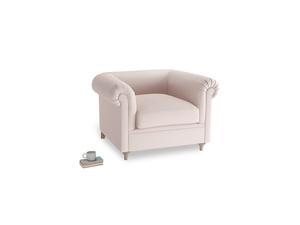Humblebum Armchair in Faded Pink brushed cotton