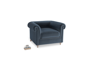 Humblebum Armchair in Liquorice Blue clever velvet