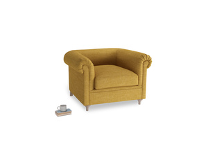 Humblebum Armchair in Mellow Yellow Laundered Linen
