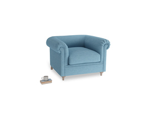 Humblebum Armchair in Moroccan blue clever woolly fabric