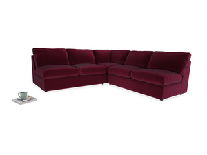 Even Sided  Chatnap modular corner storage sofa in Merlot Plush Velvet