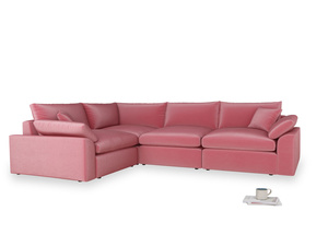 Large left hand Cuddlemuffin Modular Corner Sofa in Blushed pink vintage velvet